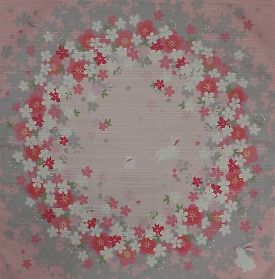 Furoshiki Japanese Fabric Cloth 'Pink Rabbits and Sakura Circles' Cotton 50cm