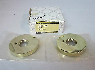 "Baldwin 5146.003 2 1/2"" Rose One Pair POLISHED BRASS LIFETIME FINISH NEW in box!"