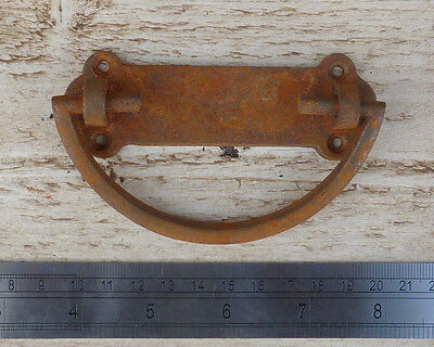 1 X HEAVY CAST ANTIQUE IRON RUST FINISH DROP BAR LIFTING HANDLE with BACK PLATE