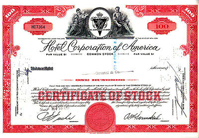 Hotel Corporation of America NY 1957 Stock Certificate