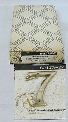"(1) Baldwin 0647.030.CD 3-1/4"" Solid Brass House Number ""7"" SATIN BRASS NEW!"