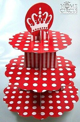 3 Tier Cupcake Tree Stand Red & White Cardboard Dotted Design Crown On Top Party