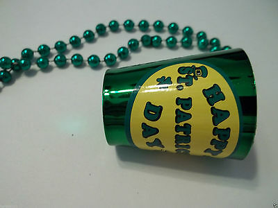 Green Happy St Patrick's Day Cup Beer Shot Glass Mardi Gras Bead Necklace