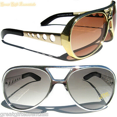 ELVIS Kill-Bill Style GOLD & SILVER 2 SUNGLASSES GLASSES Retro Jackass Knoxville