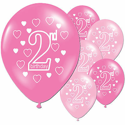 20 Pink Girl's 2nd Birthday Printed Pearlised Balloons