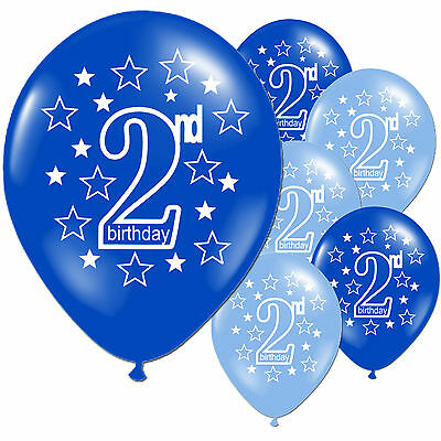 10 Blue Boy's 2nd Birthday Printed Pearlised Balloons