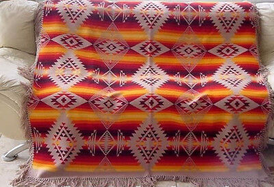ANTIQUE  VIBRANT PENDLETON BLANKET c 1930s ANTIQUE TRADE BLANKET NICE INDIAN DE