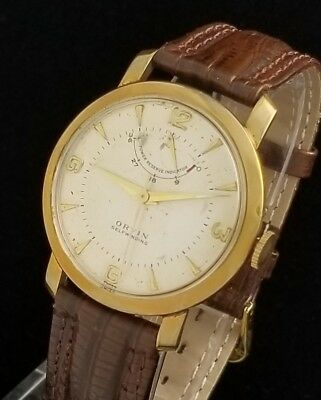 Vintage Orvin Mens Wrist Watch – Rare Automatic Power Reserve Wind Indicator
