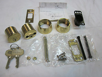 Baldwin 8011 Auxiliary Deadbolt Double Cylinder Keyed Alike 4507 POLISHED BRASS!