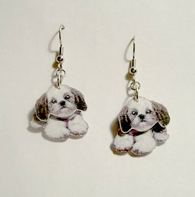 Shih-Tzu Dog 3D Earrings Handcrafted Plastic Made in USA