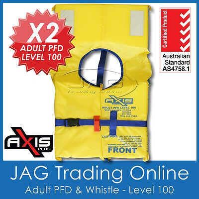 2 x AXIS ADULT PFD1 LIFEJACKET LEVEL L100 Standard Life Jacket & SAFETY WHISTLE