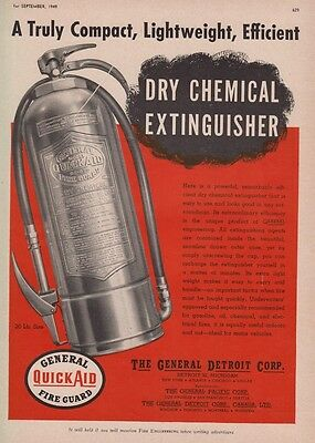 GENERAL FIRE GUARD QUICKAID  DRY CHEMICAL FIRE EXTINGUISHER  1949  AD