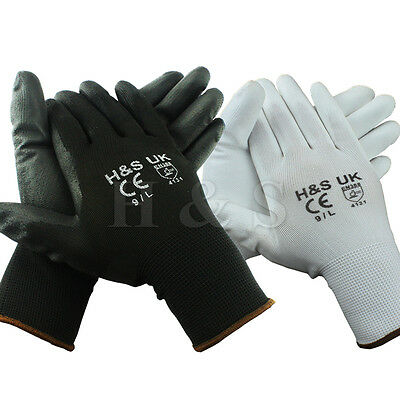 12 Pairs High Quality Black Nylon PU Safety Work Gloves Builders Grip Gardening