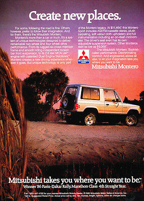 1986 Mitsubishi Montero - Paris Dakar-  Classic Vintage Advertisement Car Ad J11