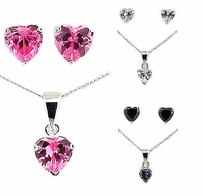 Toc Sterling Silver 925 Heart Shape Cz Pendant & Earrings Mothers Day Gift Mum