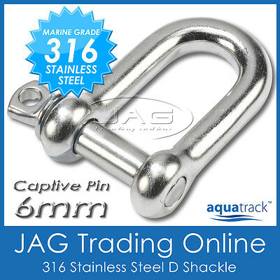 6mm 316 STAINLESS STEEL CAPTIVE PIN DEE D-SHACKLE M6 - Marine/Boat/Shade/Sail