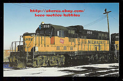 LMH Postcard  MILWAUKEE ROAD Railroad  Rebuilt GP9 GP20 MILW #950  1970s Yard