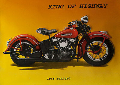 PLAKAT MOTORRAD BIKE PANHEAD King of Highway 1948 Poster 186 Kunstdruck 60x42cm