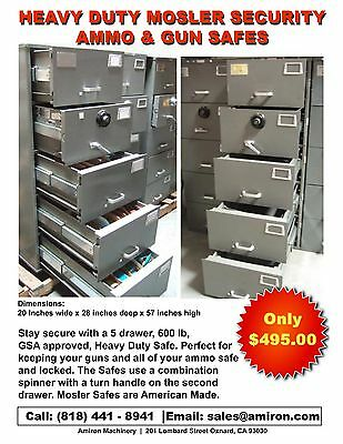 Mosler GSA 5 Drawer File Cabinet Combination Lock Legal Security Safe Gun Ammo