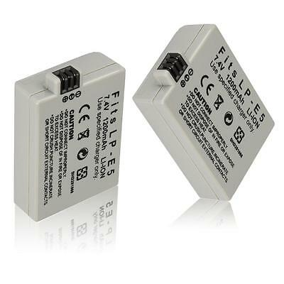 2X LP-E5 Battery for Canon EOS 450D 500D 1000D Digital Rebel XS XSi T1i Kiss X2