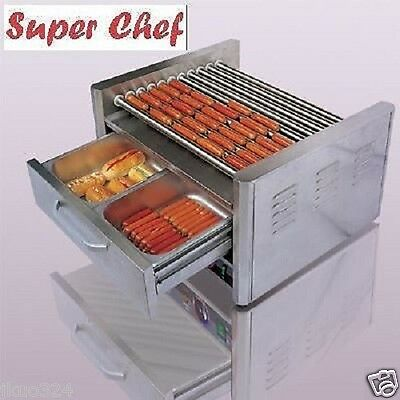 20 hot dog commercial roller grill cooker w bun box - Hot dog roller grill with bun warmer ...