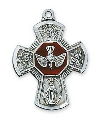 """Boys Holy Confirmation Gift 1"""" Pewter Red Enamel 4 Way Scapular Holy Dove Cross"""
