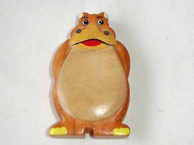 New Quality Wooden Hand Crafted Wood Fridge Magnet Standing Hippo Sm2