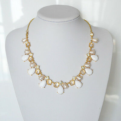 Fashion Jewelry Bubble Bib Statement Pearl Style Clear Crystal Necklace White