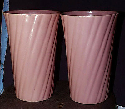 1940s Exceptional Pair Of Large Bauer Matte Rose Vases