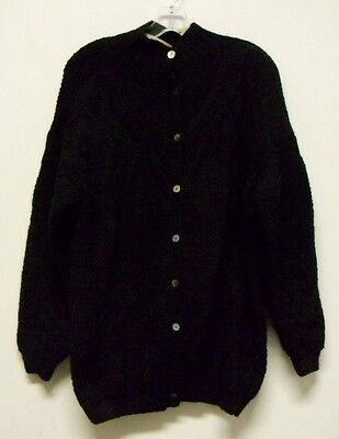 Vintage Cricket Black Hand Knit Cardigan Sweater Womens Size S