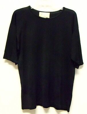 Vintage Spenser Jeremy Black Silk Crewneck Short Sleeved Sweater Womens L