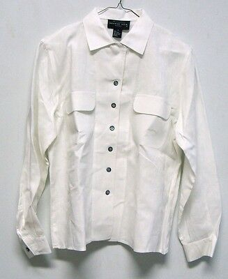 Vintage August Silk Petites White Linen Button Down Shirt Womens S