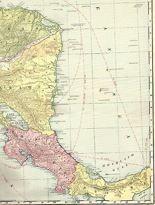 1916 RARE Antique Map of CENTRAL AMERICA Vintage RARE SIZE Original Map