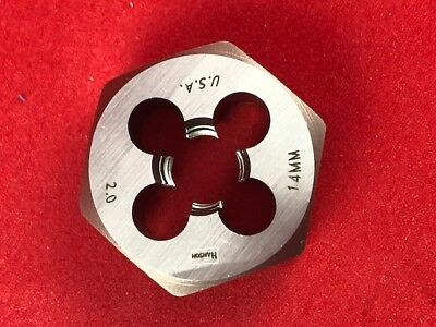 "Irwin 6952 M14 X 2.0 Metric 1.4"" Hex Rethrd Cut Die 14MM Carbon Steel USA RH"