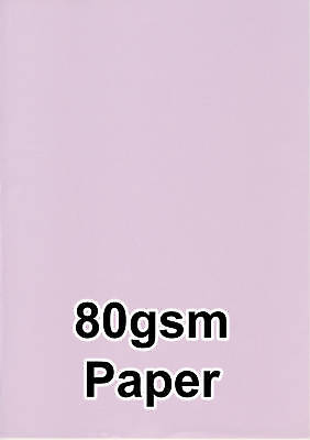 50 LILAC MAUVE COLOUR 80gsm A4 COPIER INK JET LASER PRINTER PAPER COLOURED CRAFT