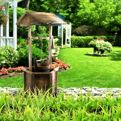 Wooden Wishing Well Garden Decor Feature - Timber Backyard Decoration