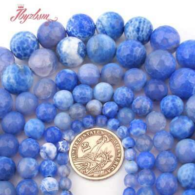 """6,8,10,12mm Round Blue Faceted Craceked Fire Agate Natural Gemstone Beads 15"""""""