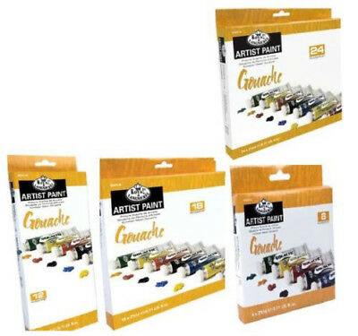 ROYAL LANGNICKEL SETS OF LARGE 21ml TUBES OF GOUACHE ARTIST PAINTS & BRUSH SETS