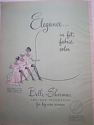 1949 Vintage  Belle-Sharmeer Leg size Stockings Hosiery Leg Wise Women Ad