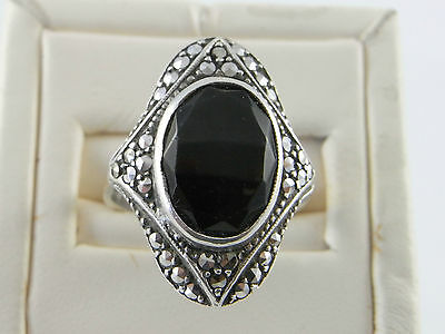 Original Old Art Deco Silver Marcasite Ring with Faceted Black Stone 1930s