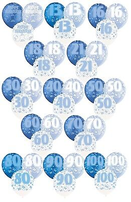 "BLUE GLITZ - Pack of 6 x 12"" Pearlised Latex Balloons (Birthday Party/Boy)"