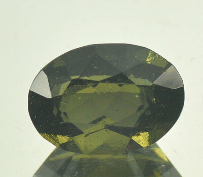 4.5cts oval MOLDAVITE FACETED CUTTED GEM 13.54x9.71mm #BRUS549