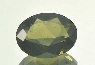 7.5cts oval MOLDAVITE FACETED CUTTED GEM 15.75x12.17mm #BRUS548