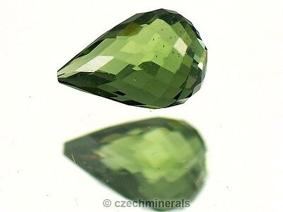 0.78cts tear drop MOLDAVITE FACETED CUTTED GEM 4.5x7.5mm #BRUS515