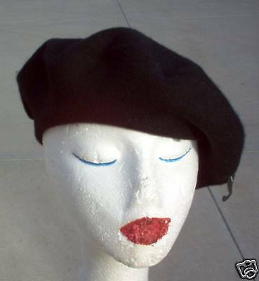 Black Wool Beret Cap one size fits to 60cm