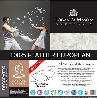 Feather European Pillow By LOGAN AND MASON 65 x 65cm Machine Washable