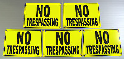 ''NO TRESPASSING'' SIGNS, YELLOW, METAL 5 SIGN SET ,NEW