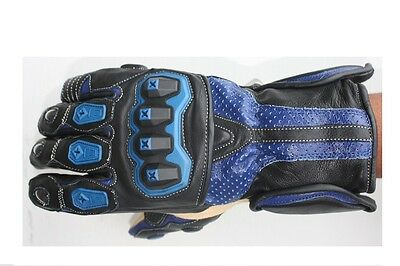Motorbike/Motorcycle Leather Gloves Waterproof  Breathable Red or Blue colours