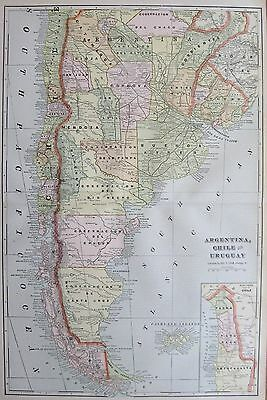 1901 Antique ARGENTINA Map CHILE Map URUGUAY Map of South America