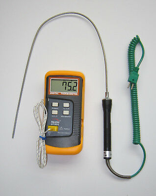 """K Type Thermometer Thermocouple 19"""" Stainless Steel Insertion Temperature Sensor"""